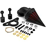 Krator Motorcycle Black Spike Air Cleaner Intake Filter Compatible with 2004-2007 Harley HD Dyna Super Glide Street Bob