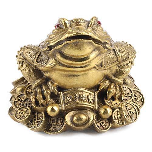 Estatua de sapo de dinero Feng Shui, latón dorado Figuras de sapo de tres patas Monedas chinas Lingote de oro Encantos de buena suerte Decoración de la fortuna de la suerte para el hogar(11x9x8cm)