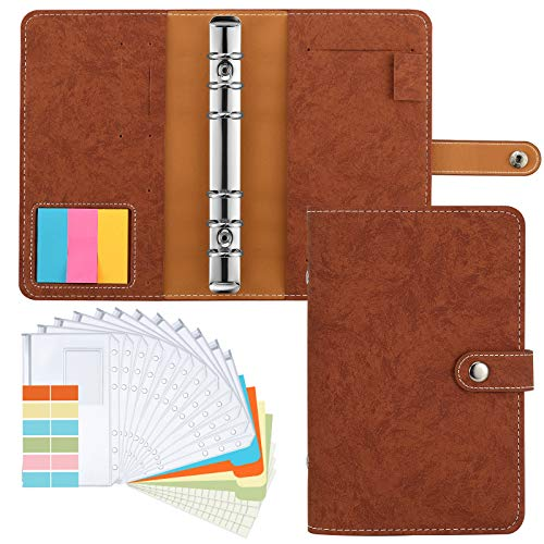 Housolution A6 Notebook Budget Binder, PU Leather Loose-Leaf Folder Refillable 6 Ring Binder Cover with 12 PCS Binder Envelopes Pockets/Label Paper, 6-Ring Note Paper/Colored Card, Sticky Note, Brown