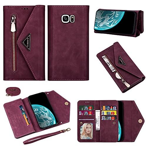 Teléfono Flip Funda Para Samsung Galaxy S7 Tipo de billetera Tipo de teléfono móvil Tipo de cartera Tipo de cartera Tarjeta protectora Tarjeta Ranura Hebilla magnética Caja de teléfono móvil Adecuado