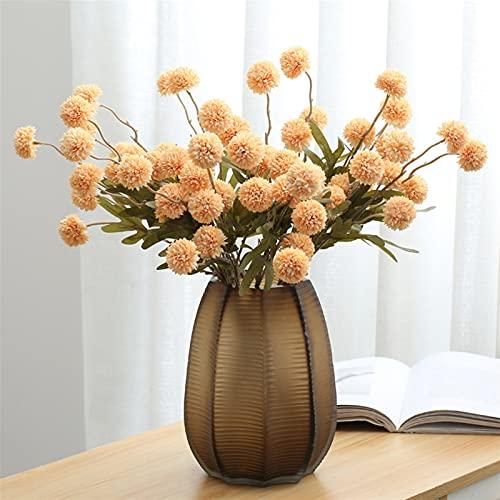 Flor eterna de 5 cabezas de flores artificiales de seda con diente de león de flores falsas para el día de San Valentín, regalos para el hogar, decoración de boda, flores artificiales (color champán)