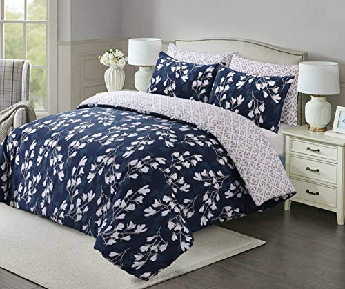 Linen Zone Easy Care Printed Reversible Duvet Cover Set Soft & Durable (Spring Blue, Double)