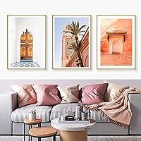 キャンバス絵画北欧ポスターマラケシュモスクモロッコファサード絵画室家の室内装飾壁画30x40cm3Pcsフレームレス