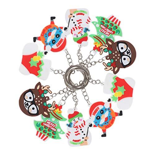 ABOOFAN 10 unids Navidad llavero de silicona colorido colgante llavero para la llave del coche bolso bolso bolso bolso de mano decoración del teléfono móvil patrón aleatorio
