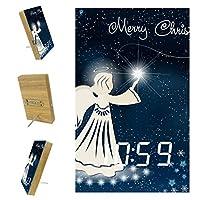 寝室用デジタル目覚まし時計キッチンオフィス3アラーム設定ラジオウッドデスククロック-クリスマスナイトエンジェルスタースノーフレーク