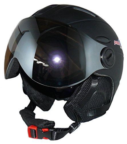 protectWEAR Skihelm MS95 schwarz matt mit Zwei Visieren klappbar - XL