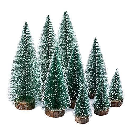 KATELUO 9 Piezas Mini Árbol de Navidad,Nini Árbol de Navidad Artificial,Mini Árbol de Navidad Pequeño con Bases de Madera,Decoración de Oficina/Hogar/Navideño/Micro Paisaje,DIY,Regalos (3 Tamaños)