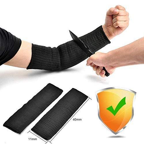 Arm Protection Sleeve, Cut Resitant 40cm Burn Resistant Anti Abrasion Safety Arm Guard for Garden Kitchen Yark Work 1 Pair (Black)