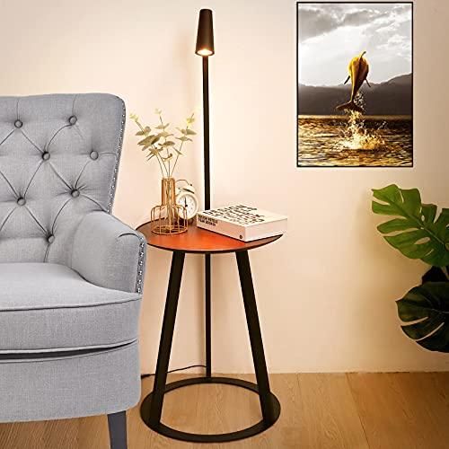 Sidosoffa ände bord golvlampa kreativitet stående lampa med hyllor ögonskydd läslampa 360° roterande lampskärm 1,72 m USB-linje soffbord retro valnötsfärg träbord 115,5 x 40 cm