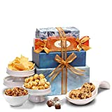 Broadway Basketeers Thinking of You Gift Tower Basket of Snacks, Cookies, Chocolates and Items for Father's Day, Birthday, Get Well Gifts, Kosher Certified