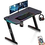 ESGAMING Gaming Tisch mit LED, Z-Förmig Gaming Schreibtisch 120cm Groß...