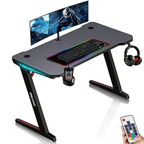 Scrivania Gaming con LED, ESGAMING Scrivania da Gioco a Forma di Z 120 cm, Tavolo da Gioco Tavolo da Computer con Portabicchieri, Supporto per Cuffie e Fibra di Carbonio Liscia