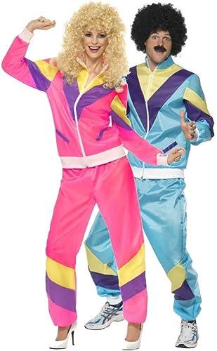 Fancy Me Paar Damen & Herren 80s Jahre 1980s Jahre Schalen-Anzug Trainingsanzug Retro H  der Mode 118 118 Liverpooler Hen tun Stag Kostüm Outfit - Mehrfarbig, Ladies UK 20-22 & Mens XL