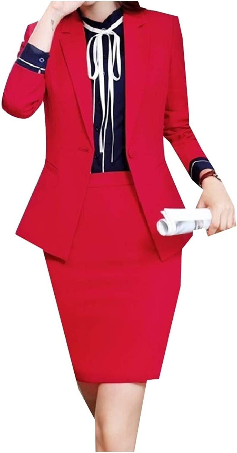 Andopa Women Lapel Button Solid OL Blazer and Bodycon Skirt Suit Sets