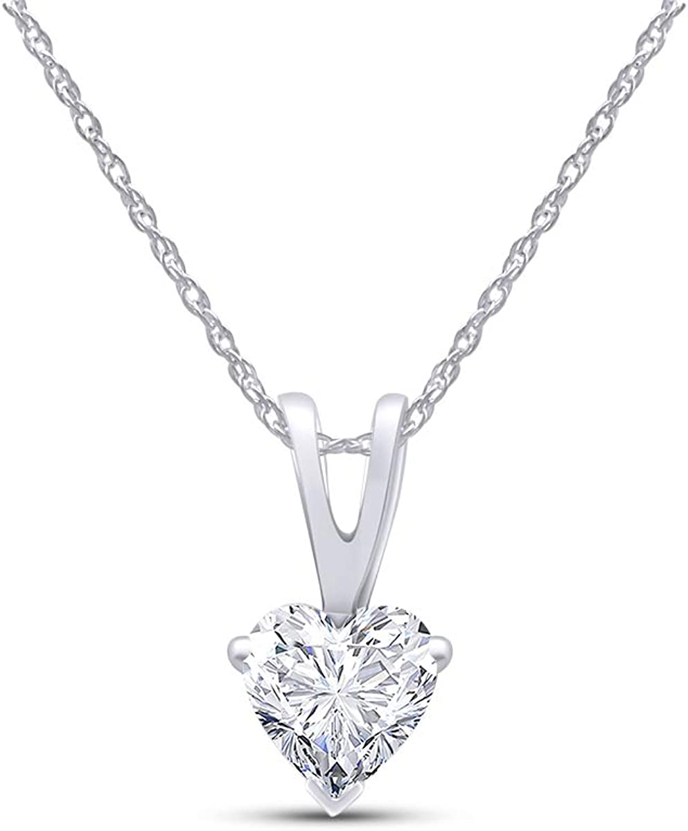 AFFY Heart Cut Cubic Zirconia in Selling Pendant Necklace Popular standard Solitaire 10k