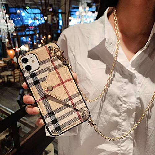 Compatible for iPhone 11 Pro Max case,Luxury Classic Pattern Leather Wallet case,Card Holder Case with Crossbody Chain Strap,Cover for Apple iPhone 11 Pro Max 6.5' 2019