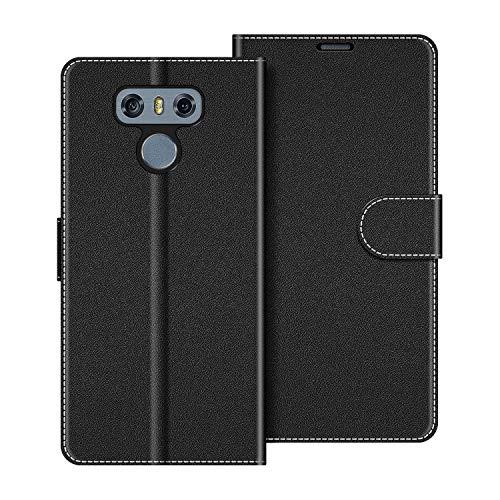 COODIO Handyhülle für LG G6 Handy Hülle, LG G6 Hülle Leder Handytasche für LG G6 Klapphülle Tasche, Schwarz