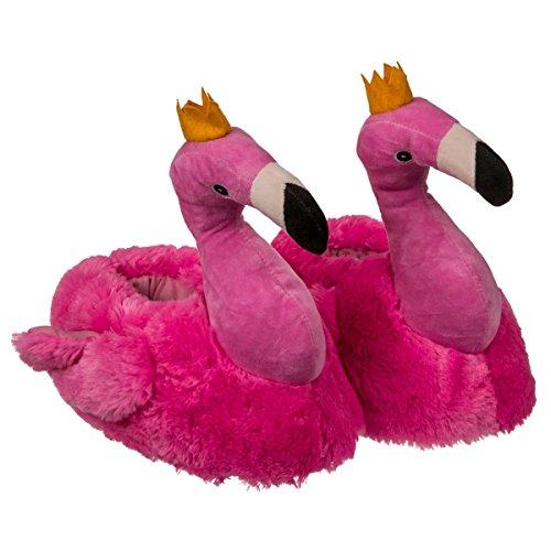 Objektkult Plüsch Hausschuhe Flamingo, Pantoffeln in Form von Plüschtieren in Pink mit Krönchen, rutschfeste Sohle mit Noppen, Plüsch aus 100% Polyester, Größe:37/38