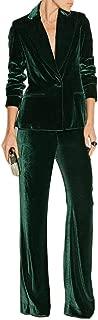 Green Womens Suits Slim Fit Velvet Business Suit Office Work Suits