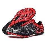 Zapatillas profesionales de pista y campo, transpirables y ligeras, para correr, color rojo y azul, para hombres y mujeres (tamaño: 42, color: rojo)