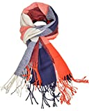 Woogwin Winter Warm Plaid Scarfs for Women Long Blanket Scarf Big Grid Shawl Wrap (GrayRed)