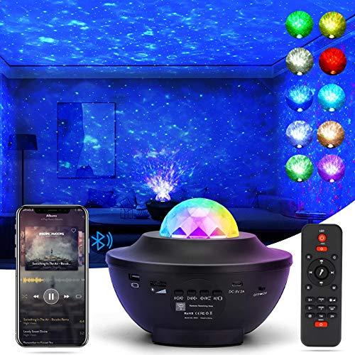Jagdag LEDSternenhimmelProjektor,Lachesis Sternprojektor Nachtlicht Lampe & OzeanwellenprojektormitFernbedienung/Bluetooth/3HelligkeitsstufenBesteGeschenkefürKinder Party Schlafzimmer