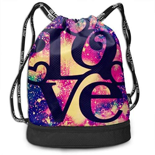 OKIJH Mochila Mochila de Ocio Mochila con cordón Mochila Multifuncional Bolsa de Gimnasio Gymsack Drawstring Bag Sackpack Love Sport Cinch Pack Simple Bundle Pocke Backpack For Men Women