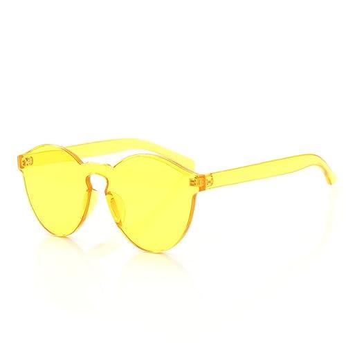 60b85e22be1e OLINOWL Rimless Sunglasses Oversized Colored Transparent Round Eyewear  Retro Eyeglasses for Women Men