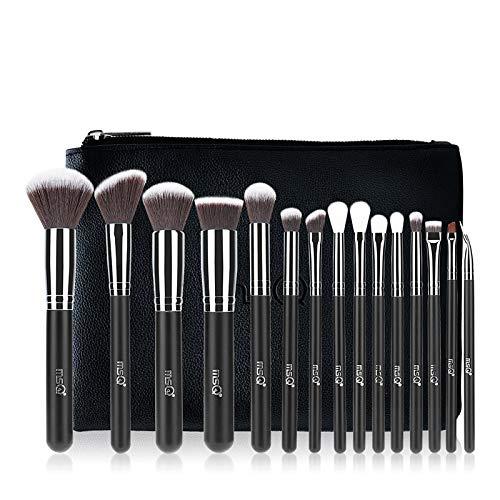 MSQ Lot de brosse de maquillage 15 Pinceaux Cosmétique Professionnel avec trousse de maquillage pour fond de teint, poudre, BB Crème, eyeliner, Anti-cernes - Meilleur pour cadeaux et voyage
