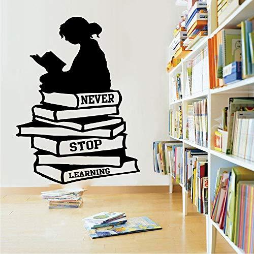 yaonuli Das Lesen von Büchern hört nie auf, Wandtattoos zu Lernen Bibliothek Schulbücher inspirierende Wandaufkleber Bildung 84X63cm