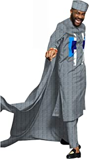 Men Robes 3 Pieces Suits Cape top+ Pants+ hat West Africa Agbada Jacquard Arab Thobe Islamic Muslim Dubai