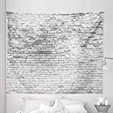 Lunarable Brick Wall Tapestry King Size, Worn and Cracked Grunge Stained Brick Wall Masonry Architecture Image Print, Wall Hanging Bedspread Bed Cover Wall Decor, 104' X 88', White Grey