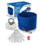 Fishing Magnet Kit 660 lbs with Rope by LORESO - Complete Magnet Fishing Kit, Neodymium Salvage Magnet for Magnet Fishing, 65 FT Magnet Fishing Rope, Carabiner, Safety Gloves and Threadlocker