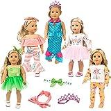 ZITA ELEMENT 4 Set Uniform Puppenkleidung Spielset Kleider Set für 45-46cm Puppe Einhorn Muster Kleid, indischen Stil Pyjamas, trägerlose Kleidung, Klee Rock, Mermaid Outfits -