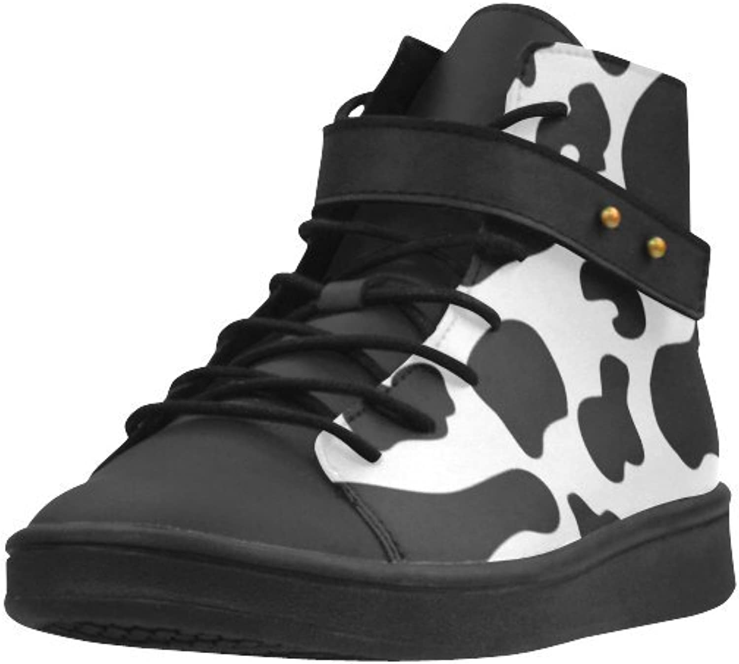 HUANGDAISY Cow Pattern Black and White Round Toe Grain Leather Foamed Insole shoes for Women