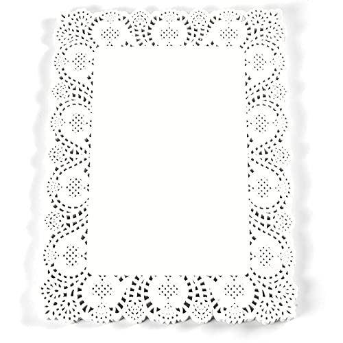 Rectangular Paper Doilies for Placemats, Cakes, Desserts (White, 15.5 x 11.7 in,...