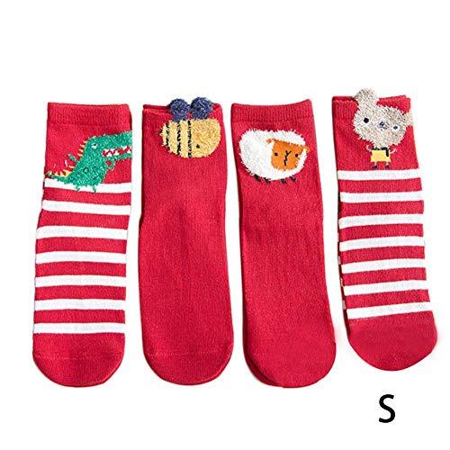 D.ragon Socken Winter, Cartoon Baumwollsocken Weihnachtssocken, Babysocken, Rote Socken, Vier Paar Socken