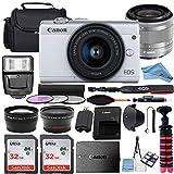 Canon EOS M200 Mirrorless Digital Camera 24.1MP Sensor w/EF-M 15-45mm f/3.5-6.3 is STM Lens + 2 Pcs SanDisk 32GB Memory Card + Bag + Flash + Tripod + Accessory Bundle (White, Silver) (32GB)