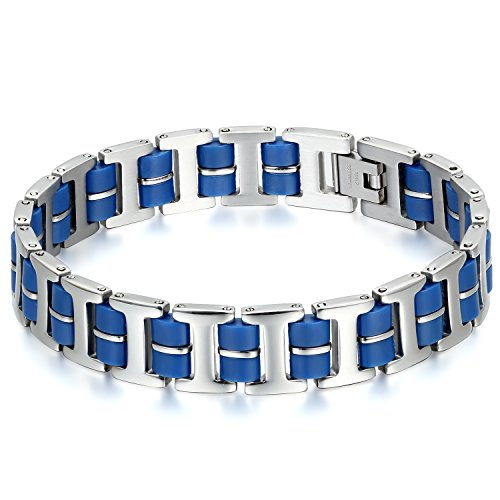 JewelryWe Schmuck Herren motorradkette Armband; Breit Bike Chain Armreif Armkette; Edelstahl Silikon; Silber blau