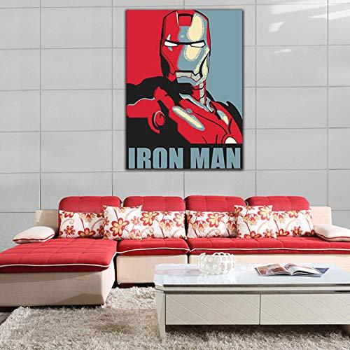 Louneu DIY Iron Man Bild Malen Ausmalbilder Digital Digitaler Bilderrahmen Reliefmalerei Homepage-40x50cm-Rahmenlos