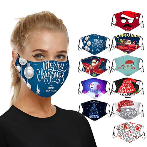 ATRISE 10PC Adult Christmas Face Cover Washable Proof,Face Mouth Cover Outdoor Unisex Man Women for dust Sun Wind Cycling (Black, One Size)