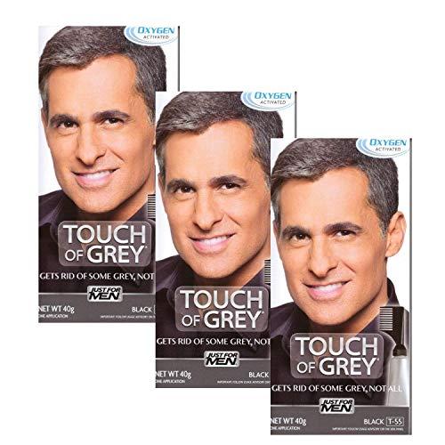 3 x Touch of Grey Herren Haarfarbe – wählen Sie Ihre Farbe – Schwarz Grau T55