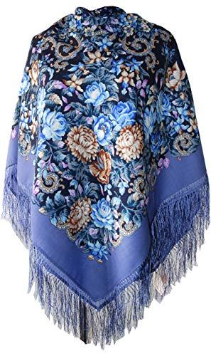Original groß Lang Damen Russischer Pawlow Posad Schal Tuch Umschlagtuch 100% Wolle, mit Paisley und Blumen, mit Seidenfransen, hochwertige Stola - sehr hohe Qualität 125cm x 125cm