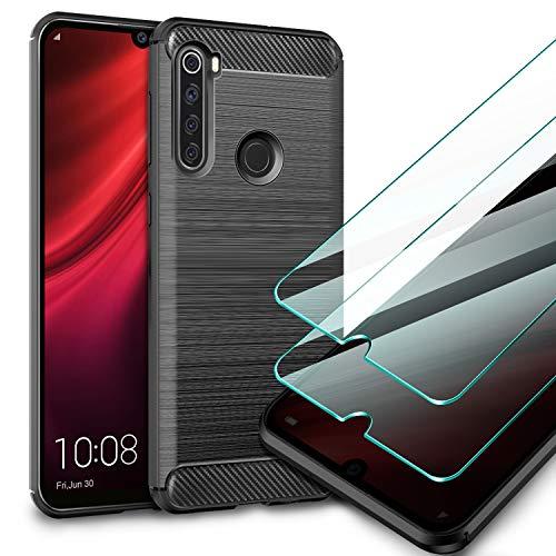 AROYI Funda Xiaomi Redmi Note 8T, [2 Pack] Cristal Templado, Carcasa Silicona Fibra de Carbono TPU Alta Resistente y Flexibilidad Fundas Cover Caso para Xiaomi Redmi Note 8T-Negro