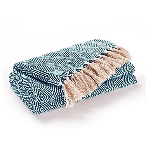 EHC Luxury Reversible Super Soft Cotton Diamond Large Throw For Sofa, Double Bed, Armchair - Peacock, 150 x 200 cm