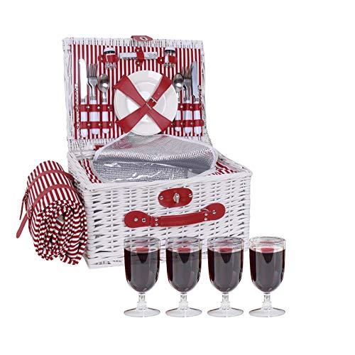 kramow Cesta de Picnic de Mimbre para 4 Personas   Cesta de Mimbre para Picnic con Funda Impermeable, Compartimento Aislado y Vajilla (Rojo y Blanco)