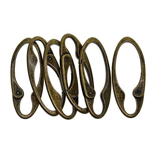 sharprepublic 6 Stück Vintage Bronze Oval Karabiner Frühling Karabinerhaken Clip Schlüsselanhänger DIY