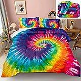 Rainbow Tie Dye Comforter Set Tie Dye Duvet Sets Orange Blue Pink Psychedelic Art Pattern Boho Hippie Bedding Twin for Girls Boys 1 Comforter 1 Pillowcase (Rainbow, Twin)