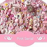 AMOBESTER 50pcs DIY Craft Making Resin Decoden Charms Jewery Making Kit/Set Slime Charms Princess Pink Series