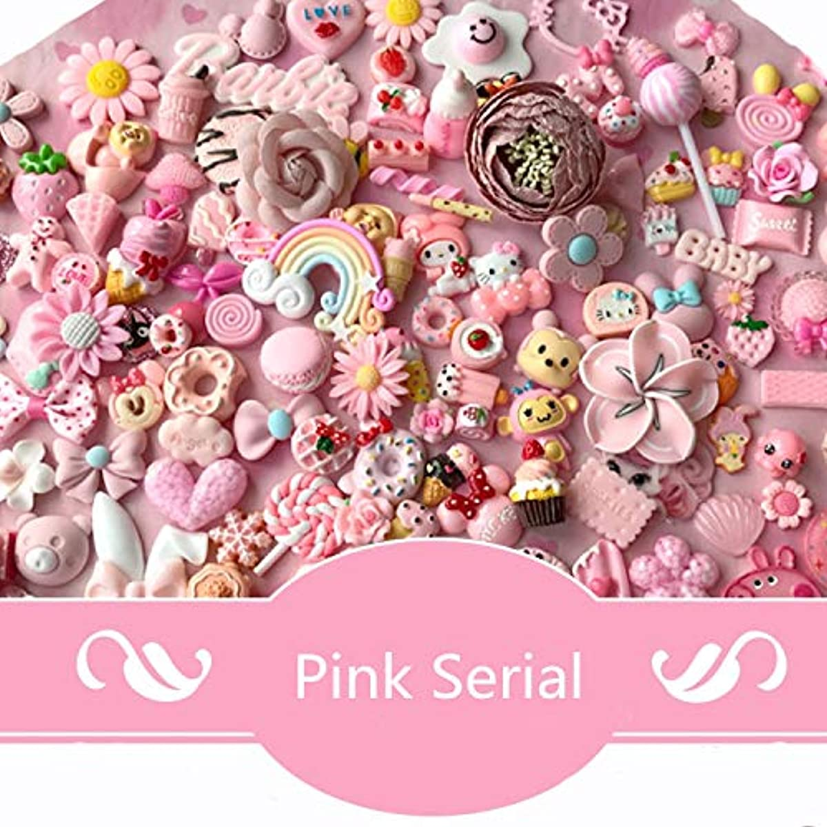 AMOBESTER 50pcs DIY Craft Making Resin Decoden Charms Jewery Making Kit/Set Slime Charms Princess Pink Series